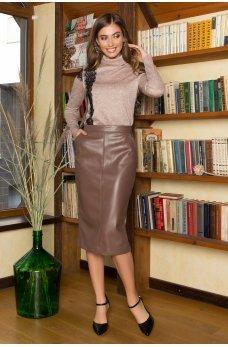 Коричневая кожаная юбка миди
