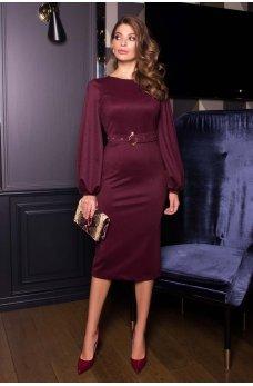 Бордовое изысканное праздничное платье