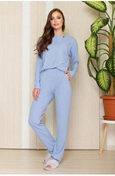 Голубые практичные повседневные брюки