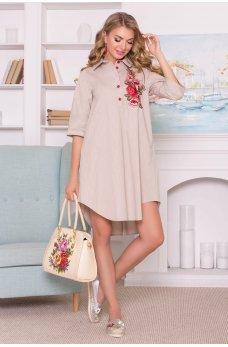 Бежевое оригинальное свободное платье с вышивкой
