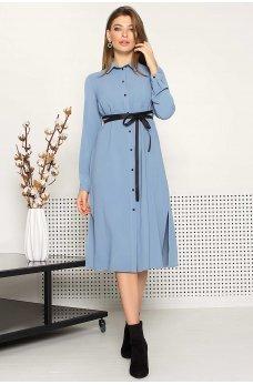 Голубое нежное женское платье на пуговицах