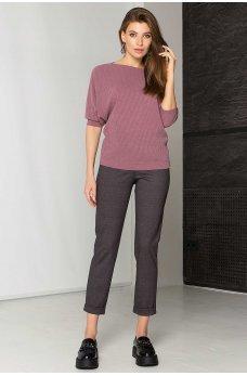 Серые модные брюки с принтом елочка