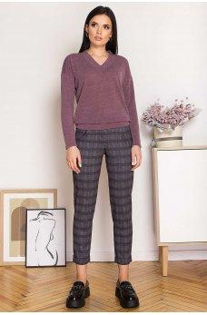 Серые клетчатые брюки с карманами
