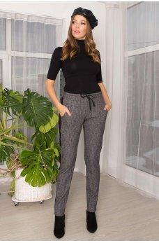 Серые трендовые теплые брюки с лампасами