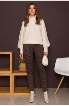 Бежевые женские комфортные брюки