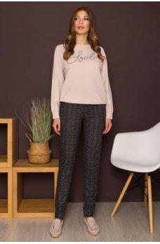 Серые клетчатые стильные брюки