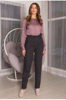 Темно-серые гламурные брюки с принтом