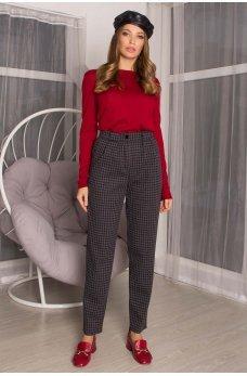 Темно-серые принтованный лаконичные женские брюки