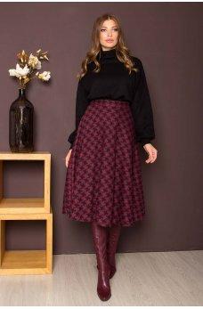 Вишневая привлекательная юбка миди с принтом