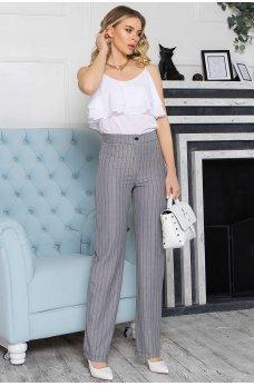 Серые элегантные женские брюки в полоску