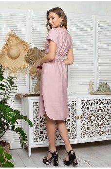 Пудровое нежное лаконичное платье миди