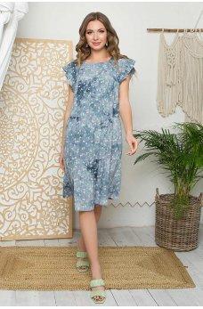 Синее свободное цветочное женское платье
