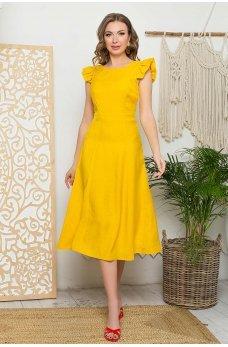 Желтое универсальное платье с юбкой-шестиклинкой