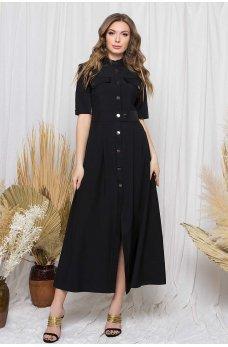 Черное трендовое повседневное платье-рубашка макси