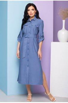 Темно-голубое льняное платье миди