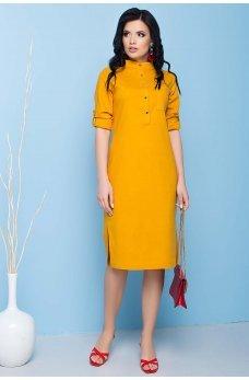 Желтое льняное повседневное платье миди