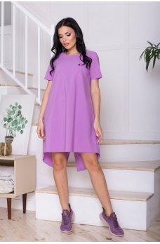 Фиолетовое трендовое короткое женское платье