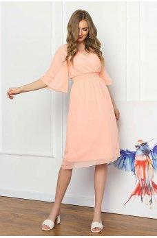 Легкое персиковое платье из шифона