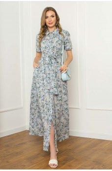 Нежное цветочное платье рубашка макси длинны