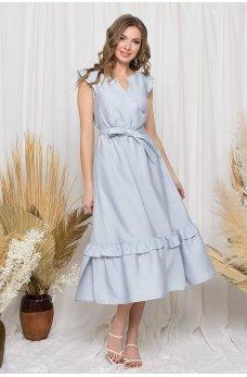 Обворожительное серое льняное платье миди