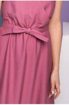 Обворожительное розовое льняное платье миди