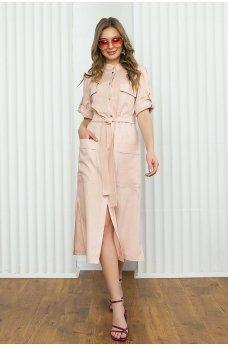 Розовое льняное платье-рубашка прямого кроя длинной в пол