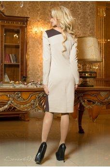 Бежево-коричневое деловое платье