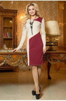 Бежево-бордовое деловое платье