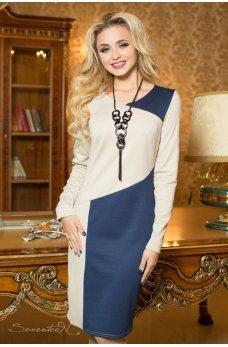 Бежево-синее деловое платье