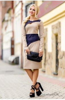 Элегантное бежево-синее платье
