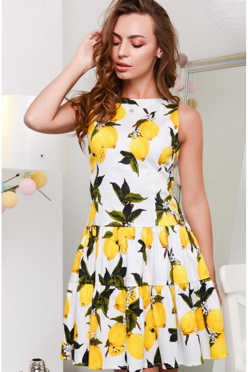 bbe8d6ca182 Белое платье принт лимончик