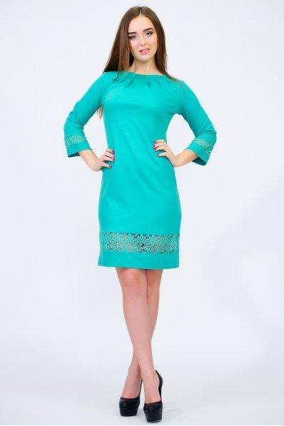 Бирюзовое платье с кружевными вставками