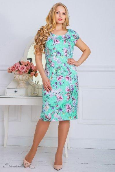 Бирюзовое платье в цветы с гипюровой спинкой