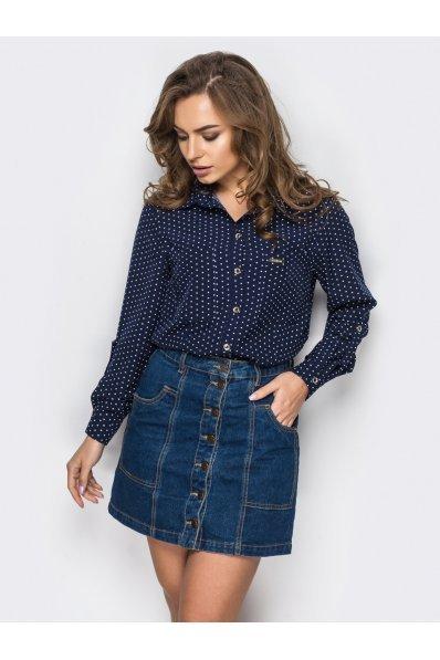 Рубашка в горошек темно-синего цвета