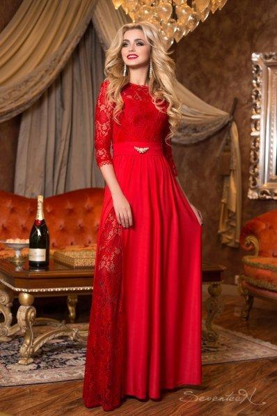 Богемное красное платье в пол