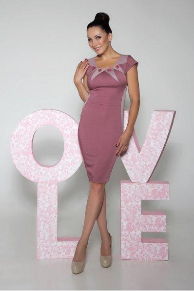 Бордово-розовое приталенное платье с пуговицами