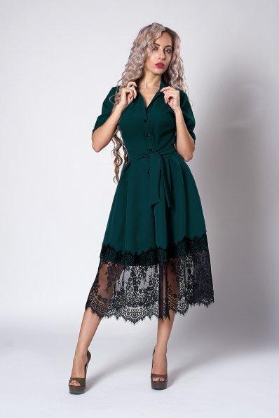 Темно-зелене плаття з пишною спідницею