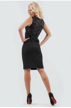 Нарядное черное платье с гипюровой спинкой