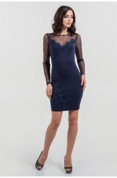 Нарядное синее платье с шифоновыми рукавами и красивым декольте