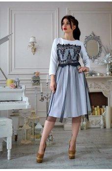 Белое платье из французского трикотажа с фатином