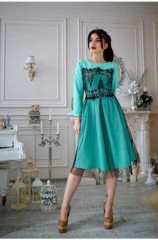 Бирюзовое платье из французского трикотажа с фатином