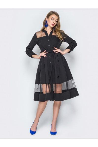 Черное платье рубашка с пышной юбкой