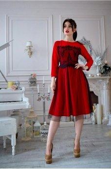 Красное платье из французского трикотажа с фатином