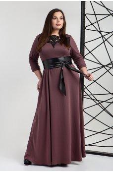 Платье в пол цвета баклажан с поясом