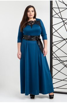 Платье в пол цвета морской волны с поясом