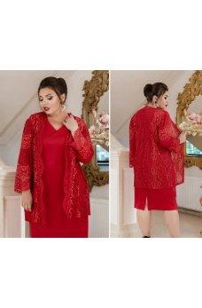 Элегантный костюм-двойка с платьем батал красного цвета