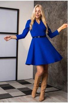 Милое синее платье на запах