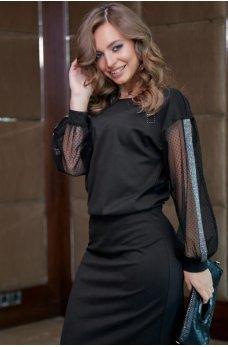 Изысканое вечернее платье  черного цвета с оригинальными рукавами