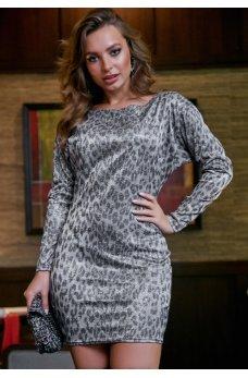 Нарядное платье серого цвета с антрацитовым леопардовым принтом