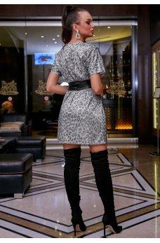 Нарядное серебрянное платье с леопардовым принтом